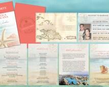 Destination Wedding Travel Passport Invitations // Coral Aqua Starfish // Punta Cana Mexico Cabo Jamaica