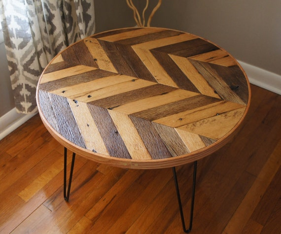 Round Wood Hairpin Coffee Table: Round Chevron Patterned Coffee Table A By NewHistoryFurniture
