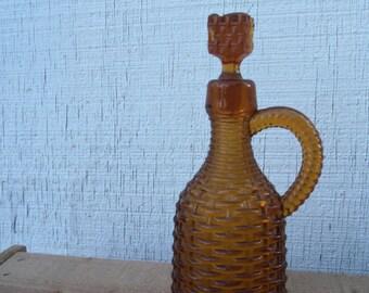 Vintage Amber Basket Weave Bottle and Stopper