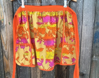 Vintage Mod Orange and Pink Vera Apron