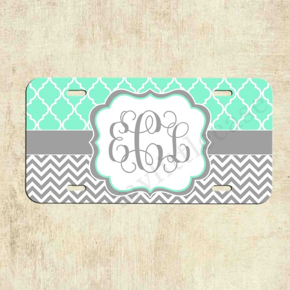 Monogrammed License Plate Mint Lattice Grey By Mylittlecase