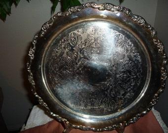 Oneida Round Silverplated Tray