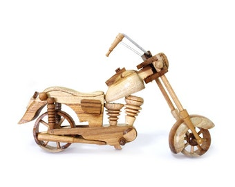 Wooden Toy Motorcycle 04 in Handmade
