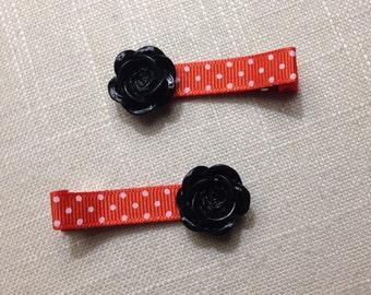 Halloween Polka Dot & Resin Rose Clip Set of 2