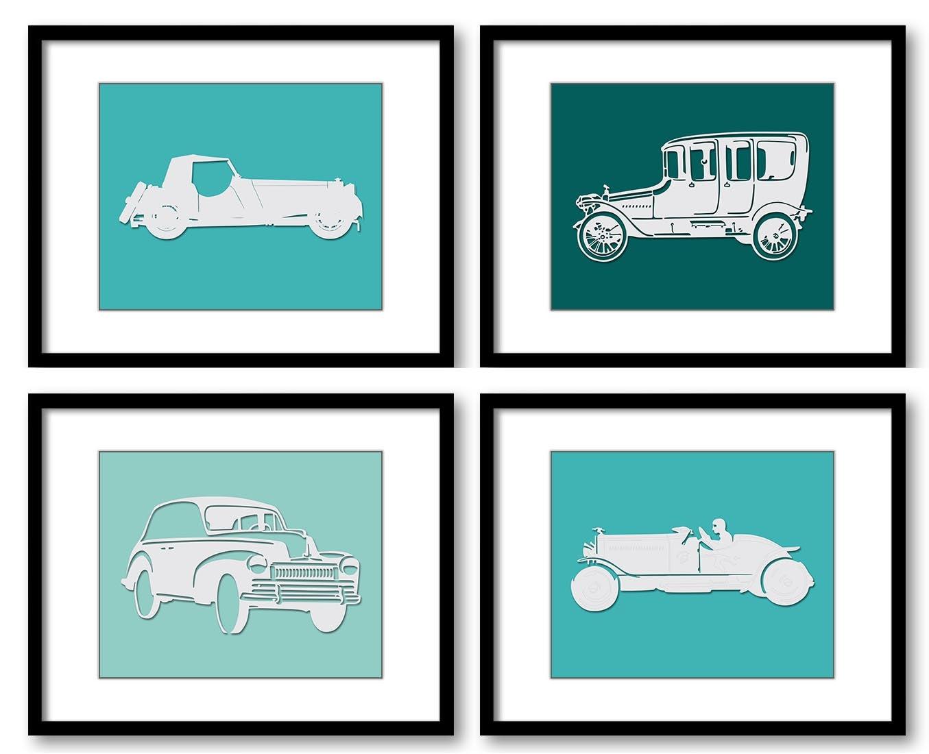 Teal Green Old Cars Classic Antique Vintage Kids Children Art Set of 4 Prints Boys Art Nursery Art N