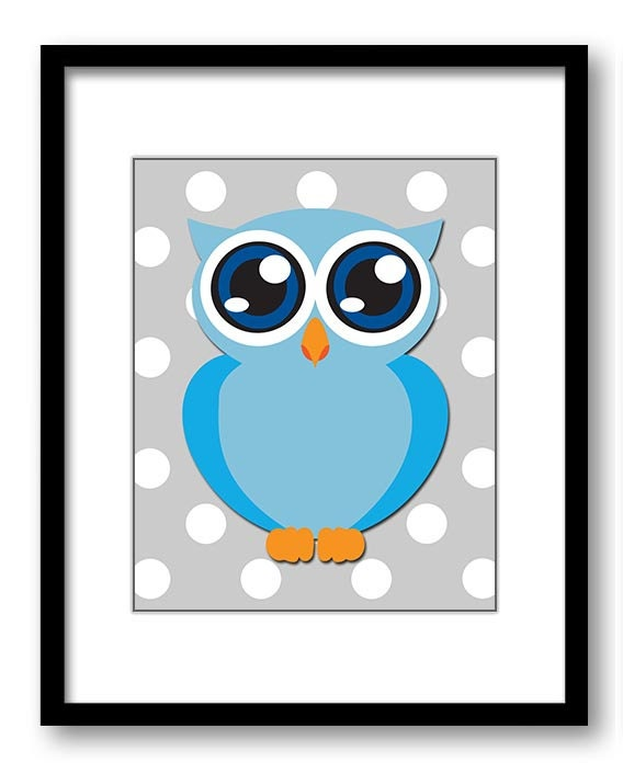 Blue Owl Nursery Art Nursery Print Baby Art Grey Polka Dots Baby Animal Owl Blue Print Boys Wall Art