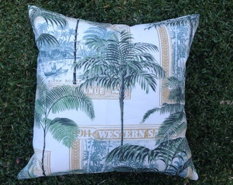 "Outdoor Cushions Outdoor Pillows  Cushion Cover ""Samoan Palm"" Tropical Palm Outdoor Pillows, Outdoor cushion covers"