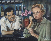 Art Print Reproduction // The Phone Call // From Original Acrylic Painting // Bar Art // 22 cm x 17 cm // Cynthia Katz