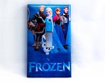 frozen Princess Anna Elsa Hans Olaf Kristoff single light switch cover wall plates children's bedroom leaving room decoration