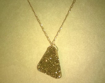 Gold Drusy Necklace on a Gold Plated Figaro Chain