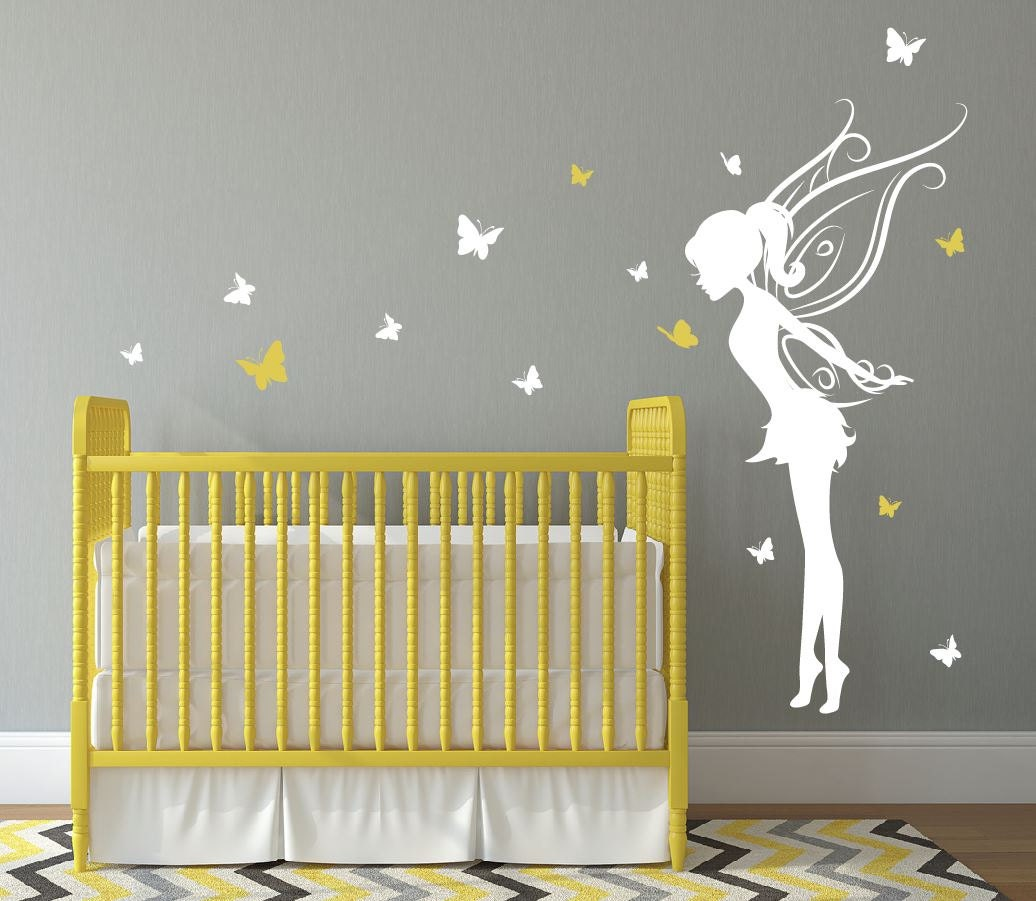 Baby girl room decor fairy wall decal w butterflies vinyl for Fairy mural ideas