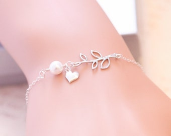 Leaf Branch Heart Bracelet, Heart Bracelet, Sterling Silver, Pearl Bracelet, Sisterhood, Mother Daughter, Friendship