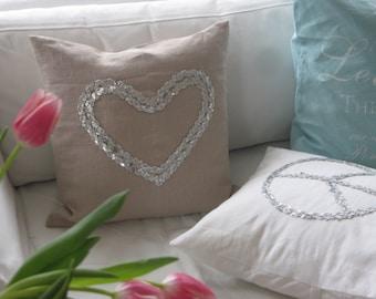 """Pillow/cushion """" Heart"""" sequins"""