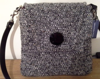 Handmade Black/White/Grey Wool Bag With Black Adjustsble Pu Leather Strap.