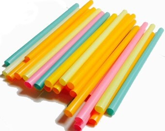 "9 "" Extra Wide Assorted unrapped Neon Milkshake/Smoothie Straws-35ct"