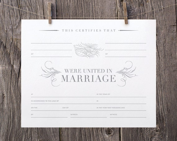 8x10 Printable Marriage Certificate Gray White Blank Marriage