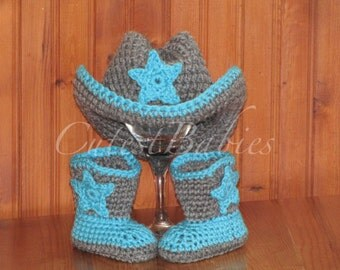 Newborn Baby Crochet Cowboy Hat & Boots Photo Prop.0-, 3-6m.