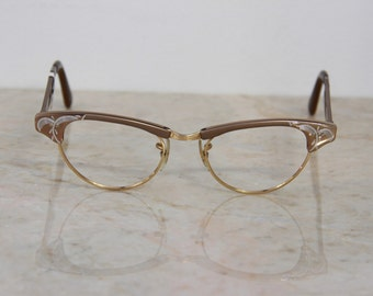 VINTAGE Deadstock 1950's US Optical Lt Brown Aluminum/12k GF Cat Eye Glasses Frames