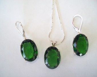 Save! Chrome Diopside Green Pendant and Earrings Set in Sterling Silver 18x13mm stones