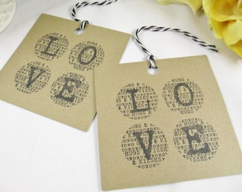Thank You Kraft Tags, Kraft Love Wedding Favor Tags, Bridal Shower Tags, Paper Tags, Gift Tags, Favor Tags, Kraft Party Tags, Gift Bag Tags
