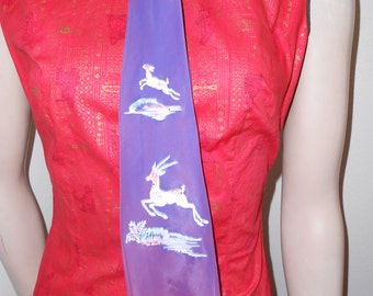 Purple 50's Tie w/Handpainted Gazelle or Antelope Scenes