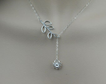 All Sterling Silver Necklace, Branch Necklace, Lariat Style