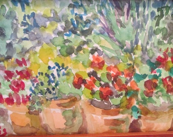 """Watercolor Painting Impressionist """"Four Flower Pots"""" Framed under Glass Small Original"""