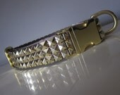 "The Punk Rocker, Brass.  1"" Wide Faux Pyramid Studded Quick Release Dog Collar"