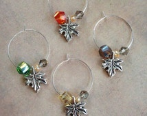 Autumn Leaves Wine Charms - Silver Plated Wine Rings and Leaf Charms, Swarovski Crystal Bicones, AB Rondelles, and AB Cosmic Cut