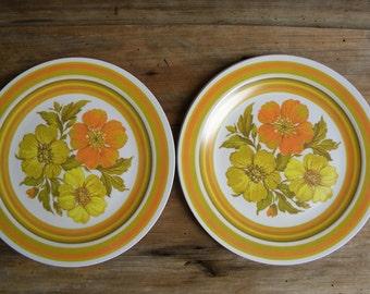Vintage Gold and Orange Flower MELMAC Dinner Plates Set of 4