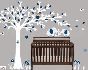 Blowing Tree Baby Elephant Decal Baby Elephant Nursery Wall - Nursery wall decals elephant