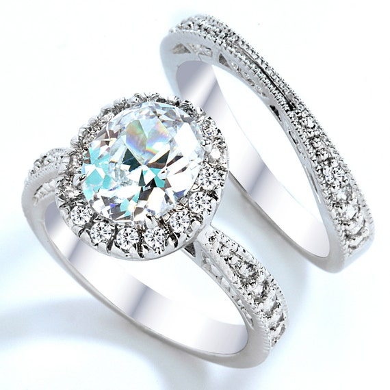 Items similar to 3 Carat Grade AAAAA CZ Oval Cut with Pave Engagement Ring Se