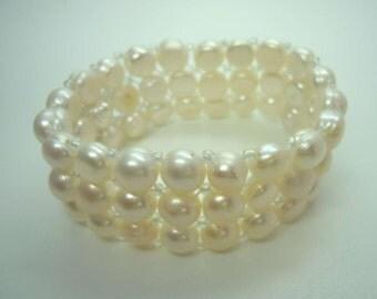 3 row freshwater pearl bracelet - flexible