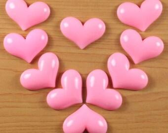 Wholesale Bulk Lot 10pcs Valentine's Day Pink Heart Love Resin Cabochons Flatback Scrapbooking Hair Bow Center Frame Photo Making Crafts DIY