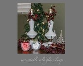 SALE: Pair of Milk Glass Lamps, Shabby Chic Decor, Hobnail, white milk glass, bedroom decor, vintage lamps, pair of hobnail lamps
