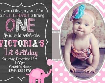 20 Elephant Invitation, Pink Elephant Birthday Invitation, Girls Elephant Invitation, Cheveron Chalkboard (envelopes included)