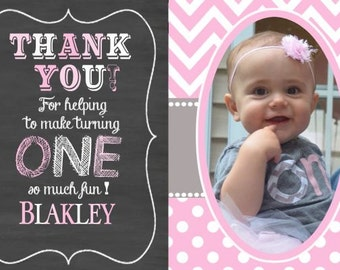 Pink Chevron Thank You Cards, Elephant Thank You Cards, Little Peanut Thank You, Pink Elephant Invitation Birthday (includes envelopes)