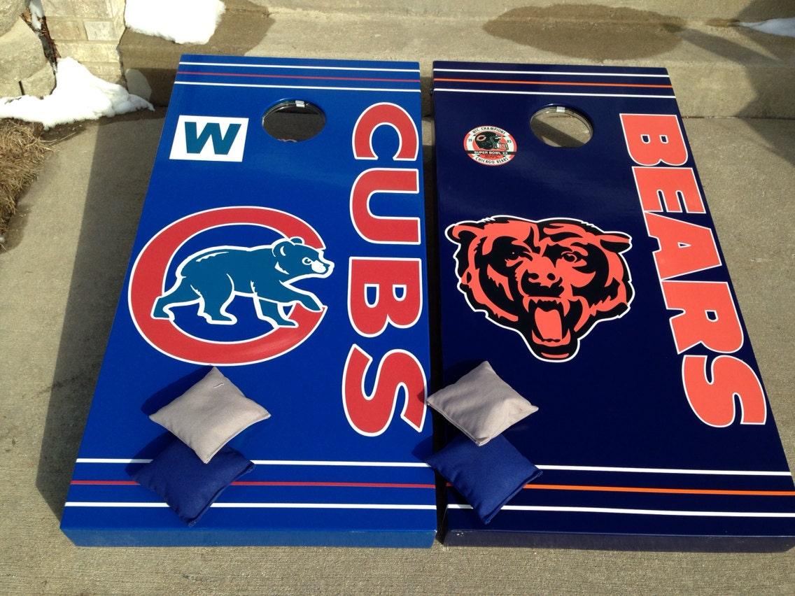 Items Similar To Chicago Bears Amp Cubs Bean Bag Set Custom