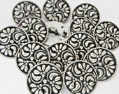 Metal buttons - floral lot 11 carved antique silver tone metal shank sewing buttons lot - metal embellishments - craft supplies DIY - 18mm