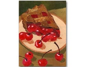 Cherry Pie - All American Childhood Memories - Route 66 Diners - The Good Old Days - Greeting Card OR Vintage Art Print (CMEM2013036)