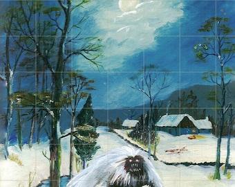 Thrift Store Art! Snow Yeti PRINT