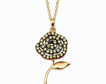 Flower 14k Solid Gold Necklace with Yellow Cubic Zirconia Stones