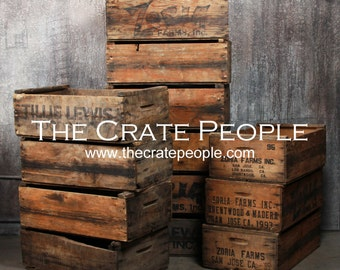 vintage Wood Crates - Zoria Farms Crate - Hundreds Available for Sale