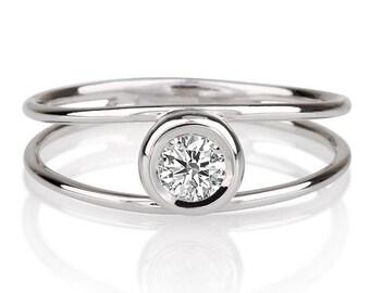 Unique Engagement Ring, Diamond Ring, 14K White Gold Ring, Solitaire Engagement Ring, 0.30 CT Diamond Ring Band