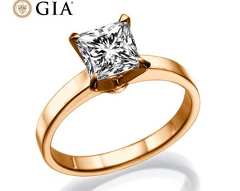 1.43ct GIA F VS Solitaire Princess Cut DIamond Ring - Rose Gold Solitaire Engagement Ring, DIamond Wedding Ring, Promise Rose Gold Ring