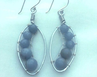 Earrings - Blue and Silver Wire Wrapped Earrings