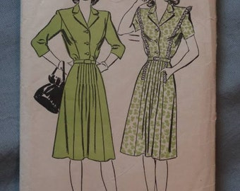 1940s Advance Pattern #6848 Dress with Collar, Belt, Button Front Size 12 Bust 30