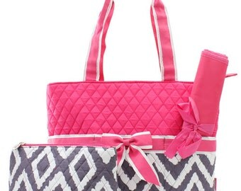 3 Piece Personalized Quilted Custom Embroidered Pink Chevron Geometric Diaper Bag with Changing Pad And Accessory Bag - Tote Purse - Baby