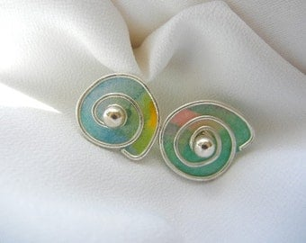 Sterling silver rice paper earring jackets - turquoise blue