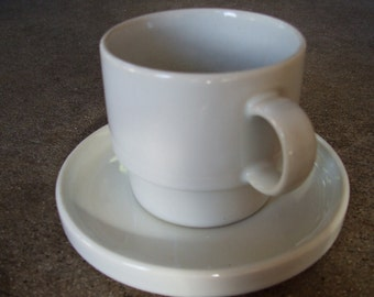 White Bauhaus Modern Design Stacking Cups and Saucers